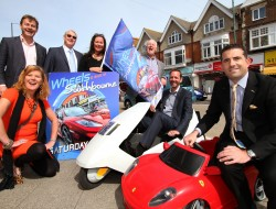photograph by Hattie Miles ... 19.05.2016 ... Bournemouth BID ... Paul Clarke, front, chairman of Bournemouth BID, supporting Southbourne where Wheels Festival will take place on Saturday 4th June.